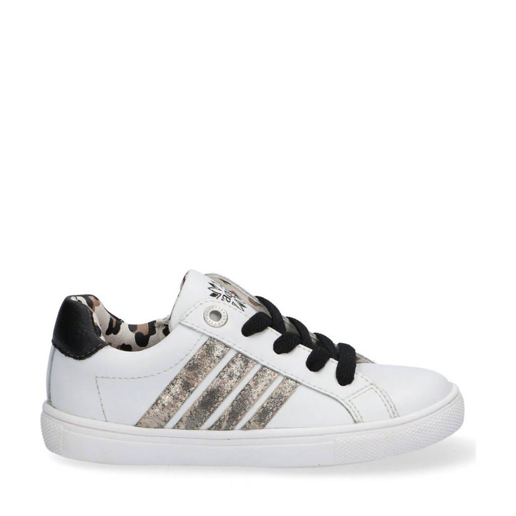 Braqeez Lesley Louwies  leren sneakers met panterprint wit, Wit/zwart/beige