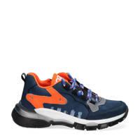 Braqeez Gio Genna  leren chunky sneakers blauw/oranje, Blauw/oranje