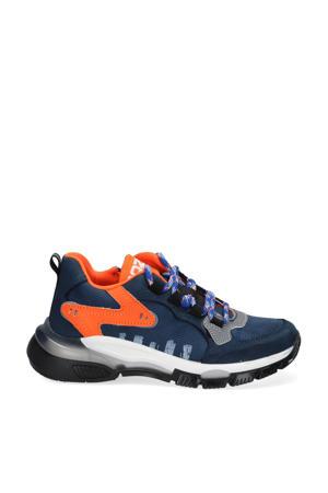 Gio Genna  leren chunky sneakers blauw/oranje