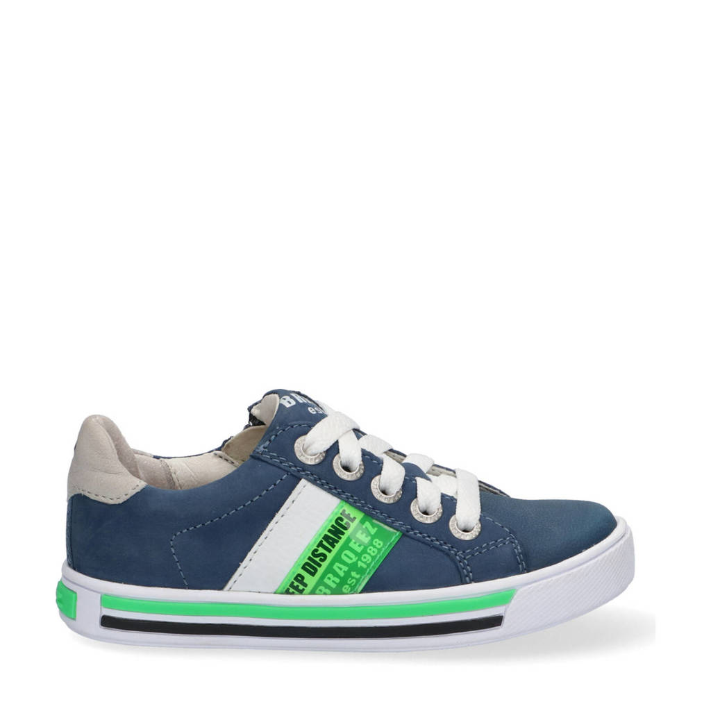 Braqeez Dicky Day  leren sneakers blauw, Blauw/wit/groen