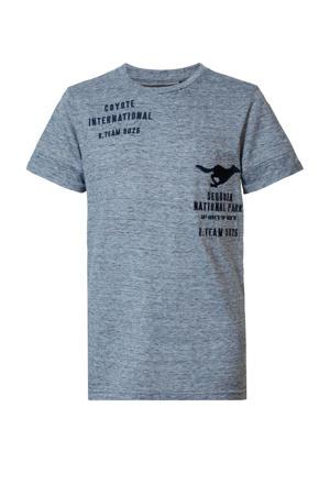 T-shirt met printopdruk donkerblauw melange