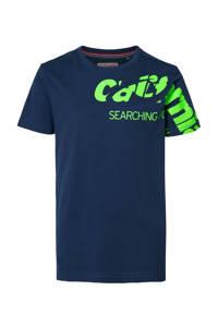 Petrol Industries T-shirt met printopdruk donkerblauw/neon groen, Donkerblauw/neon groen