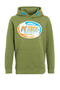 Petrol Industries hoodie met logo army groen, Army groen