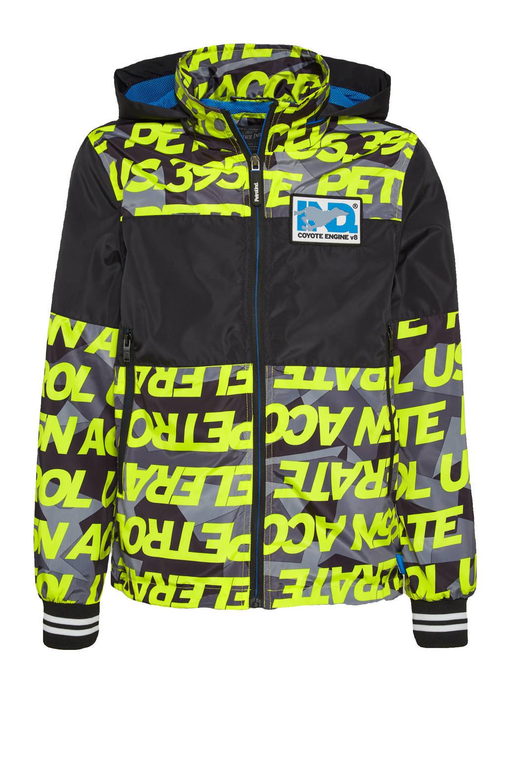 Petrol Industries  zomerjas met all over print neon geel/zwart, Neon geel/zwart