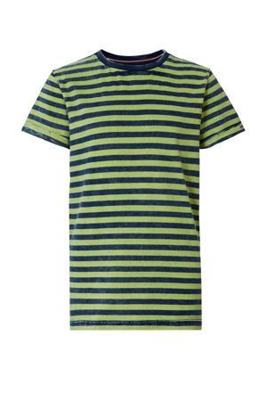 gestreept T-shirt limegroen/donkerblauw