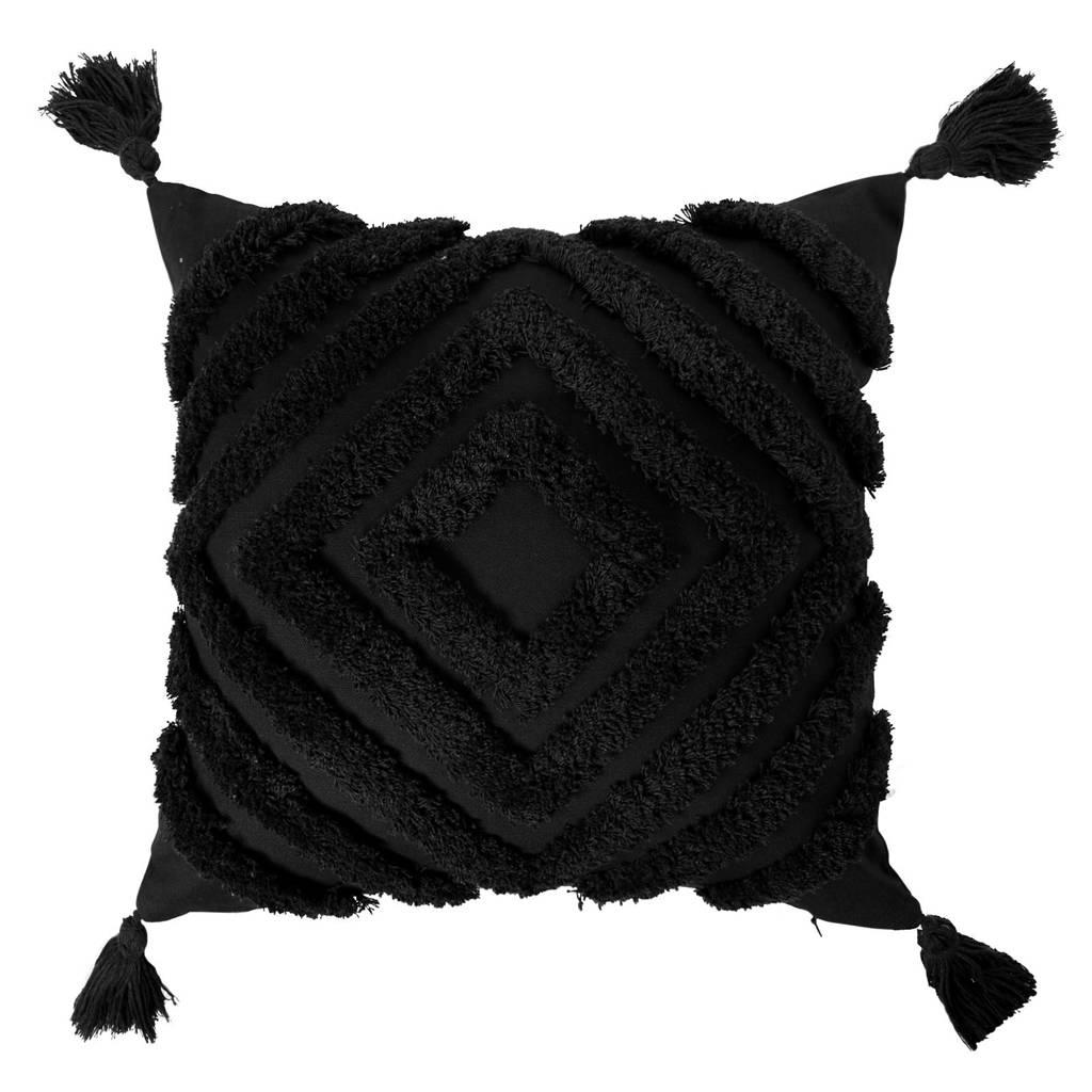 Wehkamp Home sierkussenhoes Bobbi  (45x45 cm), Zwart