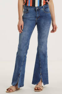 Denim Hunter flared jeans DHCille Slit bootcut custom medium blue wash, Medium Blue wash