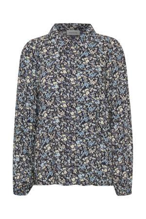 gebloemde blouse DHFlora Shirt donkerblauw