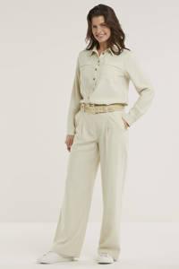Denim Hunter high waist loose fit broek DHLouisa Pant beige, Beige