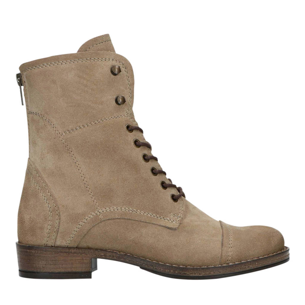 Manfield   suède veterboots taupe, Taupe