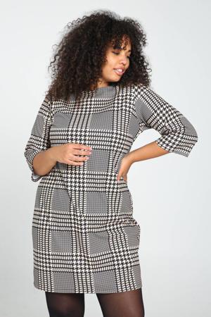jurk met pied-de-poule grijs/wit/zwart