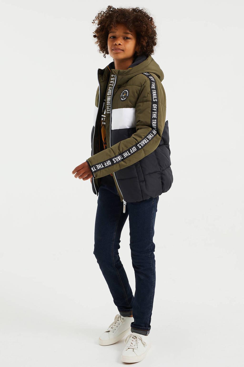 WE Fashion gewatteerde winterjas army groen/zwart/wit, Army groen/zwart/wit