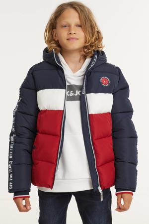 gewatteerde winterjas met contrastbies donkerblauw/wit/rood