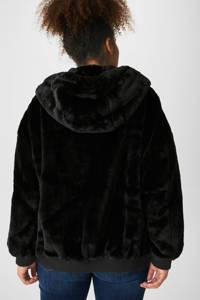 C&A XL Clockhouse reversible jas met imitatiebont zwart, Zwart