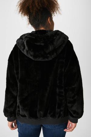 reversible jas met imitatiebont zwart