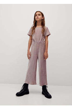 fluwelen jumpsuit pastelroze