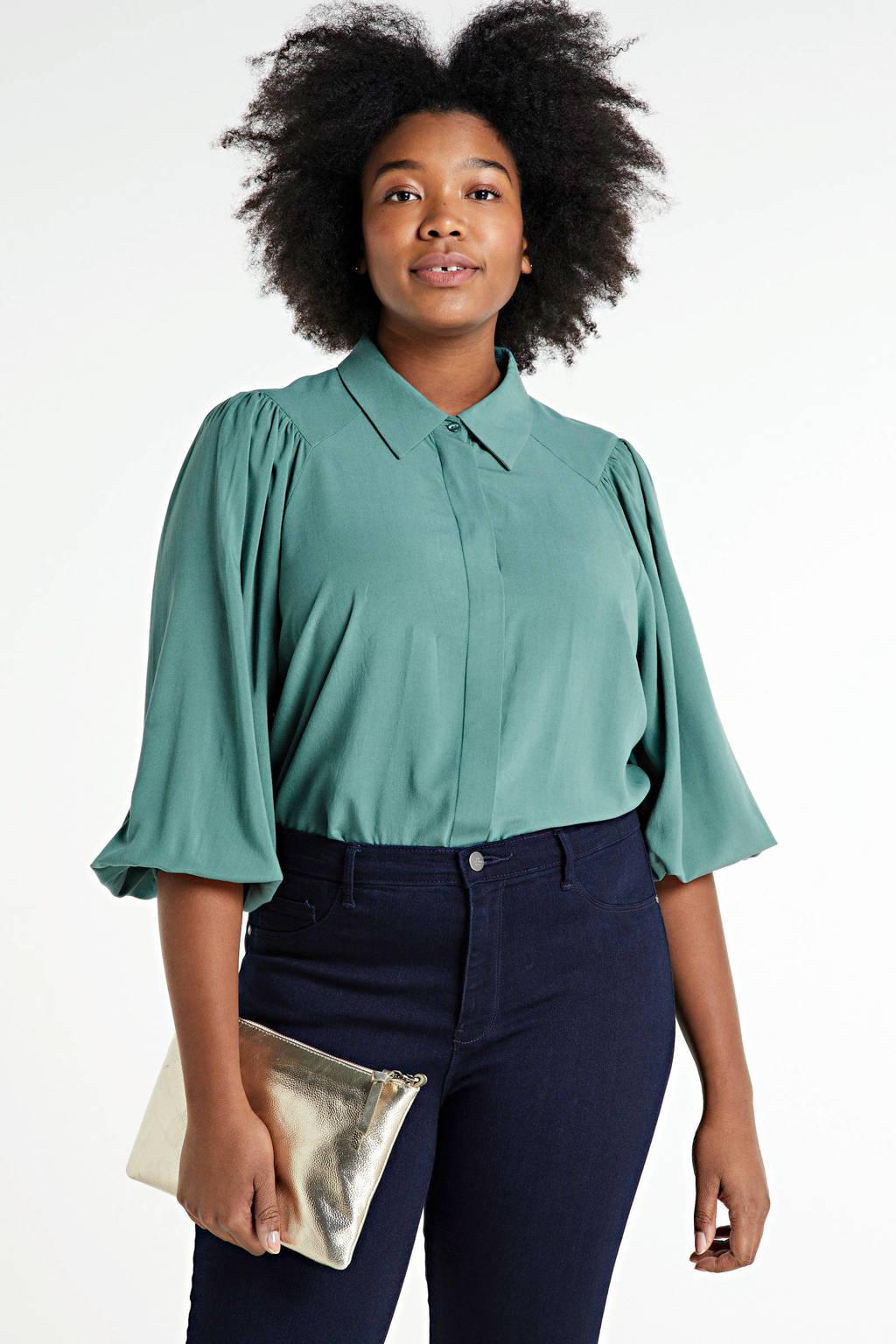 Zizzi blouse Rina mintgroen, Mintgroen
