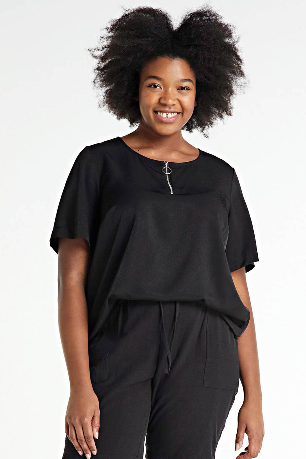 Zizzi T-shirt Enner met stippen zwart, Zwart