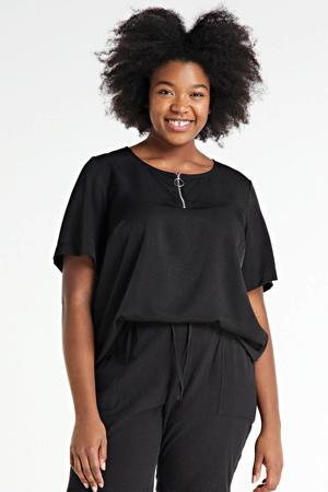 T-shirt Enner met stippen zwart