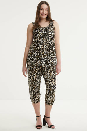 top ERIE 224 met all over print en plooien zwart/beige