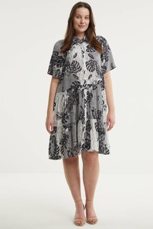 A-lijn jurk MOSS met bladprint en volant wit/zwart/donkerpaars