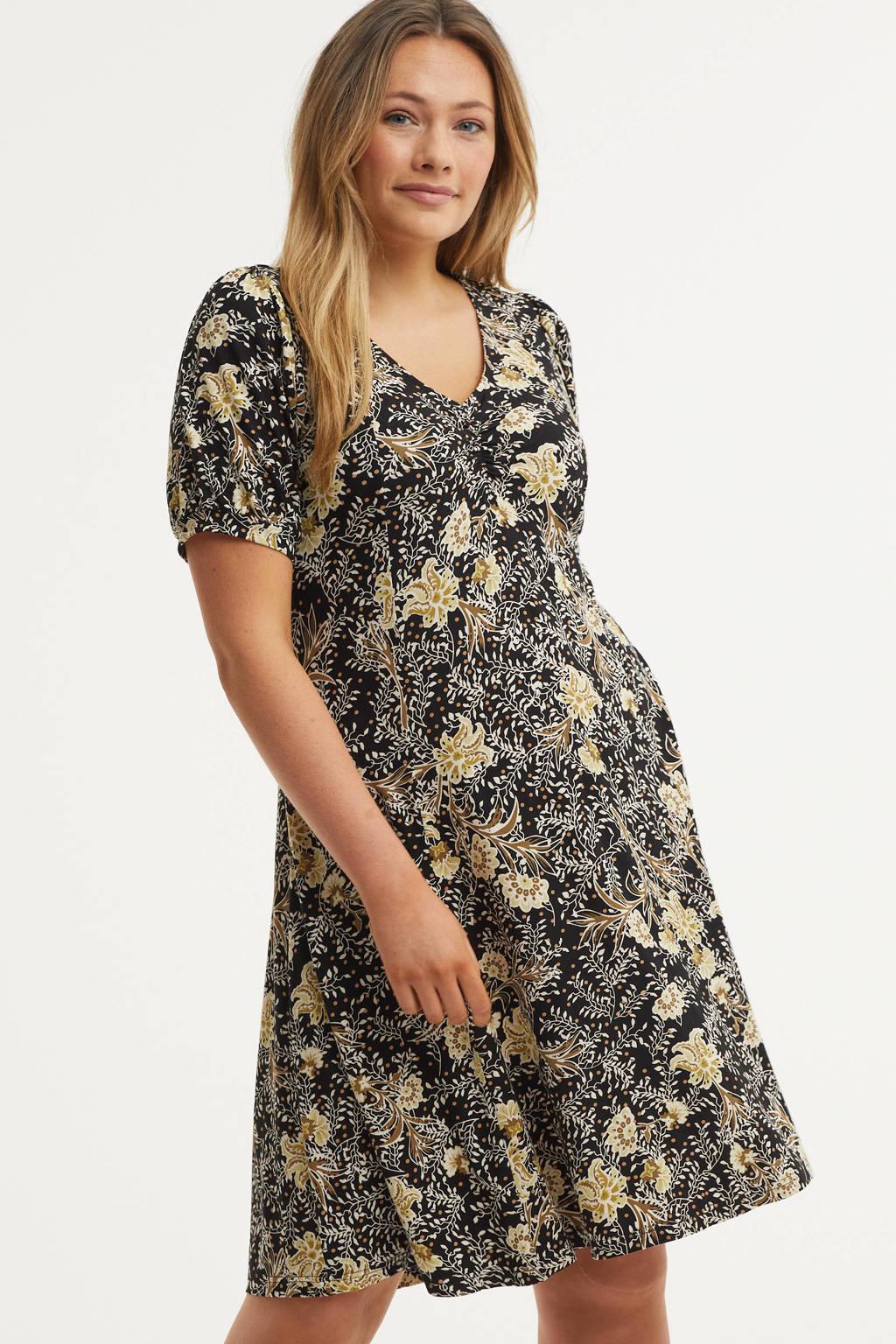 Zhenzi A-lijn jurk ESNA  met all over print zwart/wit/lichtgeel, Zwart/wit/lichtgeel
