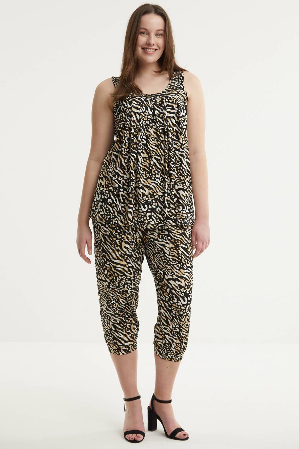 Zhenzi high waist loose fit capri ERIE 226 met all over print zwart/beige, Zwart/beige