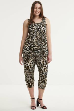 high waist loose fit capri ERIE 226 met all over print zwart/beige