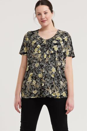 gebloemd T-shirt ESNA zwart/wit/lichtgeel
