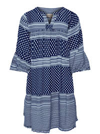KIDS ONLY jurk Alberte met grafische print en plooien donkerblauw/wit, Donkerblauw/wit