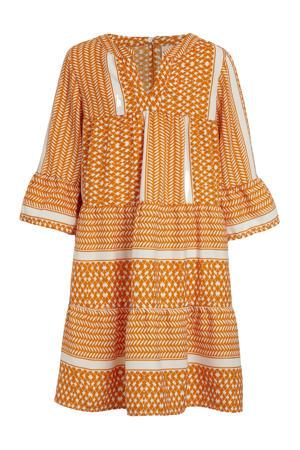 jurk Alberte met grafische print en plooien oranje/wit