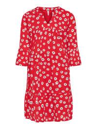 KIDS ONLY jurk Pella met all over print en plooien rood/wit/zwart, Rood/wit/zwart
