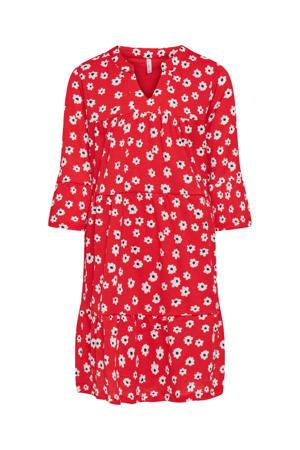 jurk Pella met all over print en plooien rood/wit/zwart