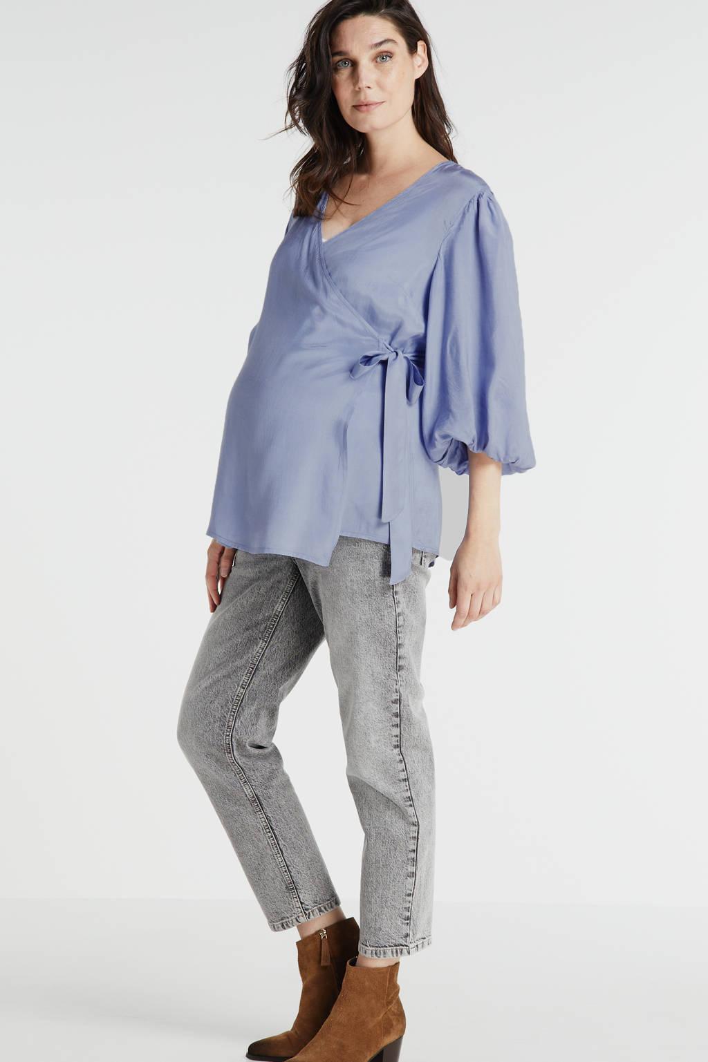 MAMALICIOUS zwangerschaps- en voedingsblouse Mariah met plooien blauw, Blauw