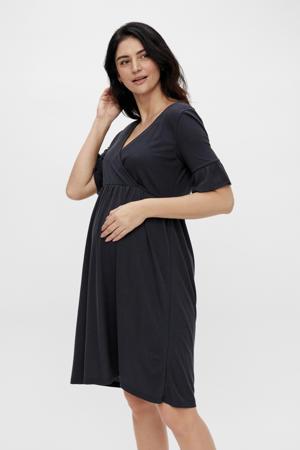 ribgebreide zwangerschaps- en voedingsjurk Reva met plooien donkerblauw