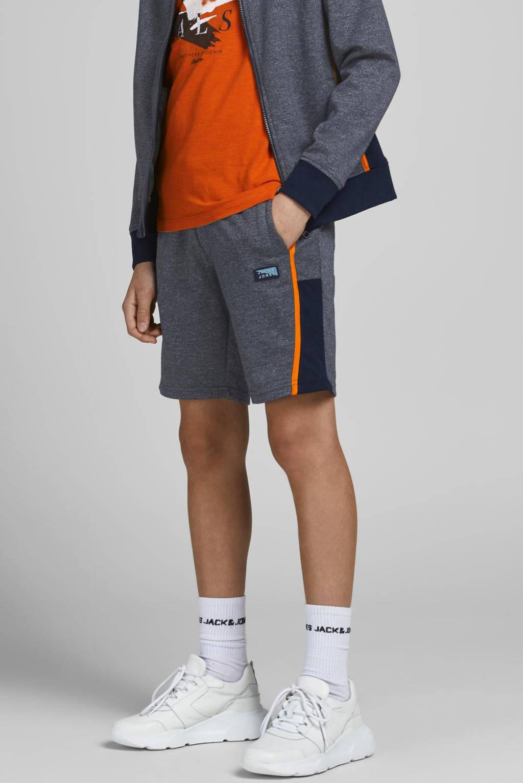 JACK & JONES JUNIOR gemêleerde sweatshort Kobe met zijstreep donkerblauw, Donkerblauw