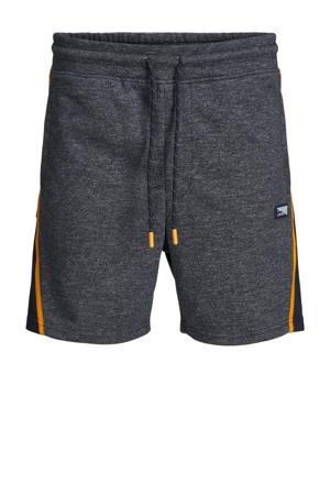 gemêleerde sweatshort Kobe met zijstreep donkerblauw
