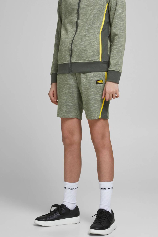 JACK & JONES JUNIOR gemêleerde sweatshort Kobe met zijstreep groen/geel, Groen/geel