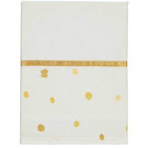 Sunny baby wieglaken stip 75x100 cm wit/okergeel