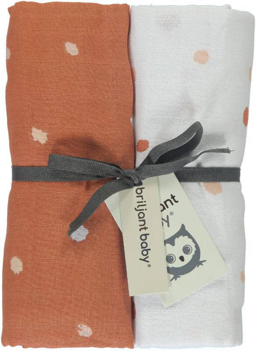 Briljant Baby Sunny hydrofiele luier - set van 2 120x120 cm stip terra/wit, Terra/wit
