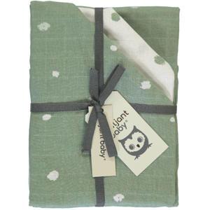 Sunny hydrofiele luier stip - set van 3 70x70 cm groen/wit