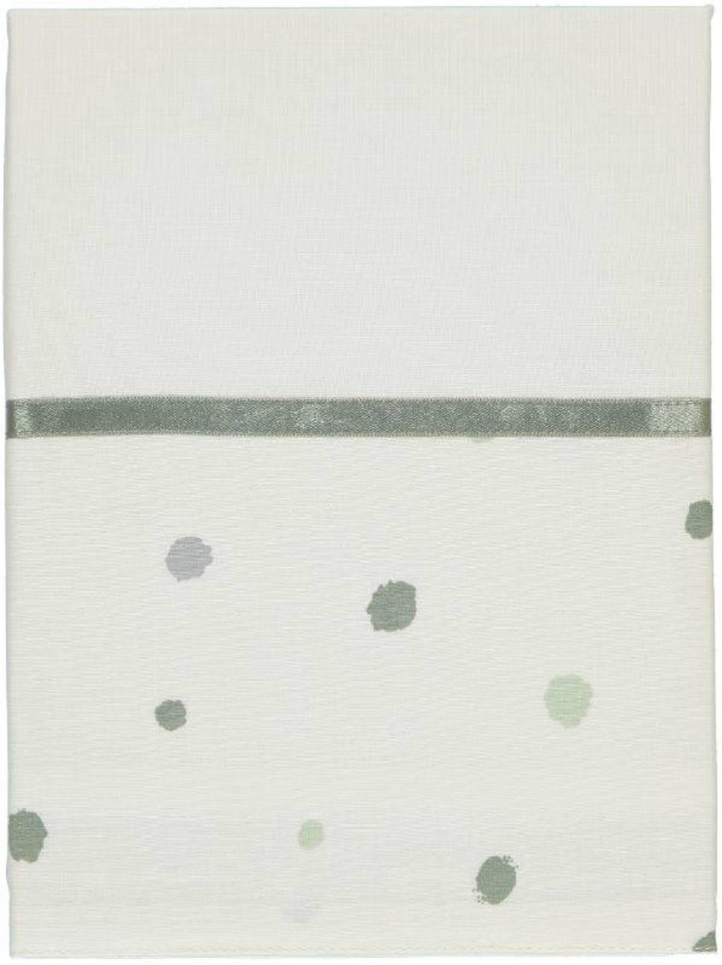 Briljant Baby Sunny baby wieglaken stip 75x100 cm wit/groen, Wit/groen