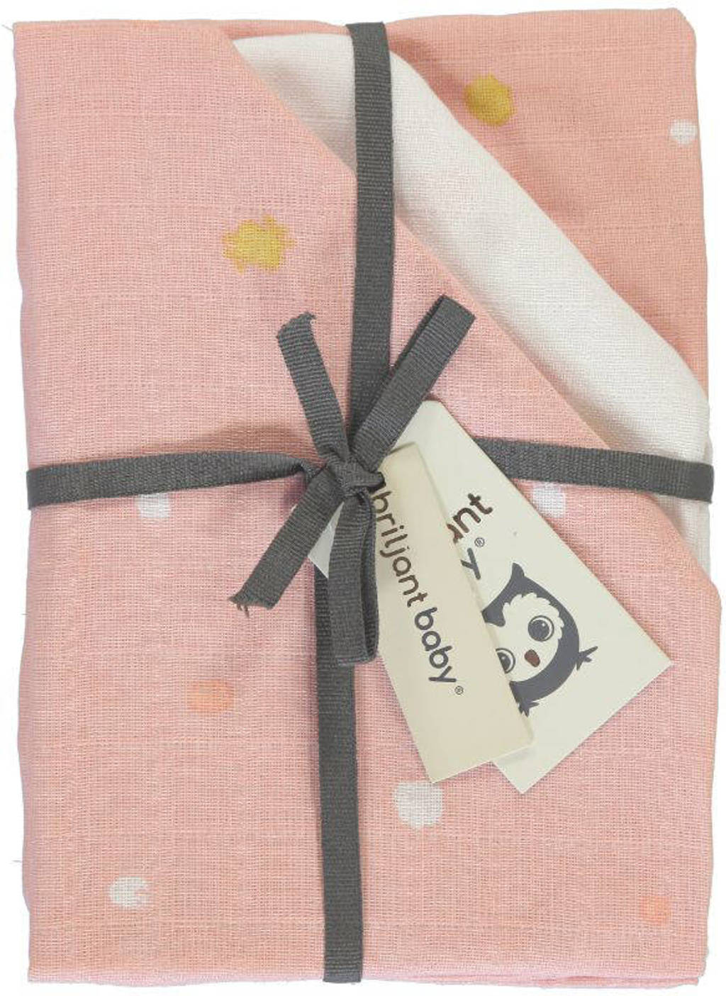 Briljant Baby Sunny hydrofiele luier stip - set van 3 70x70 cm roze/wit, Roze/wit