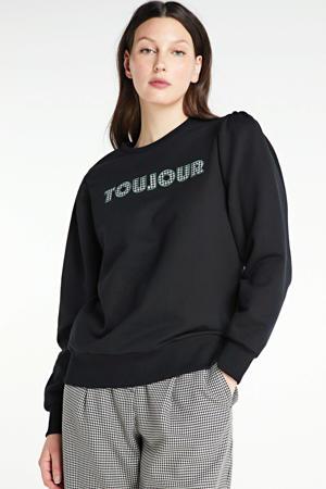 sweater Loe met tekst zwart