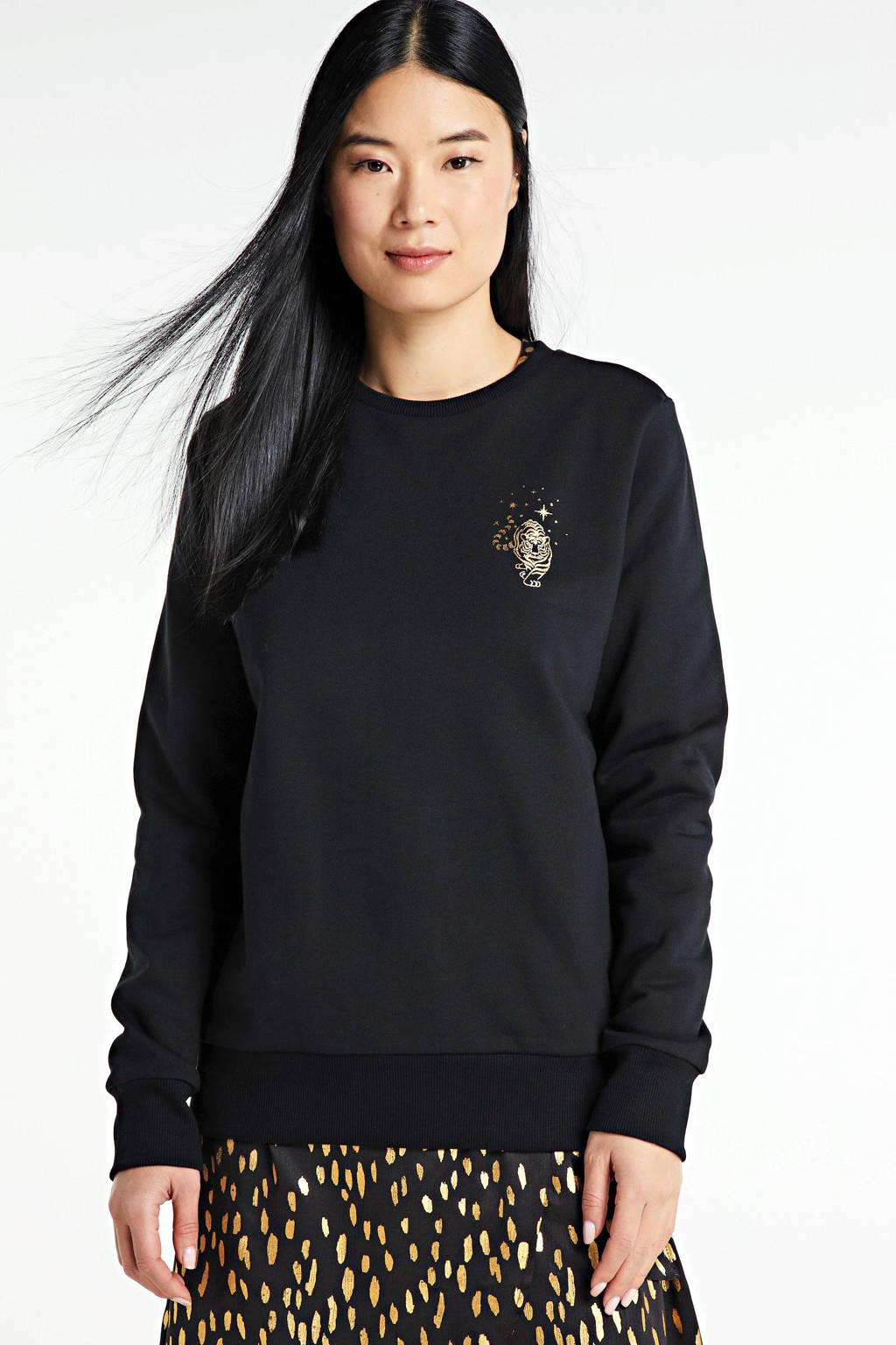 Cars sweater Hedy met pailletten zwart, Zwart