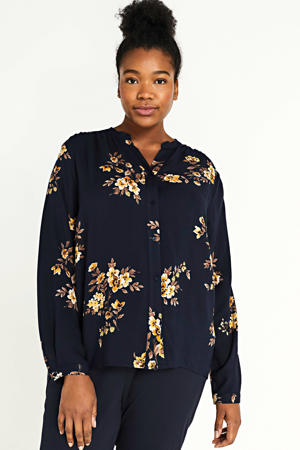 gebloemde geweven blouse Marrakesh marine/geel