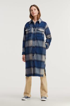geruite  coat JDYUMALA blauw/grijs