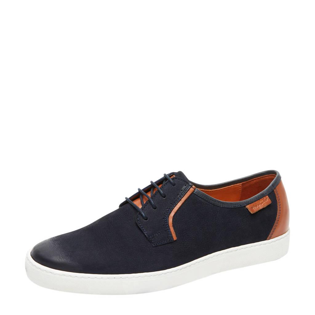Van Lier Quatro  nubuck sneakers donkerblauw, Donkerblauw/Cognac