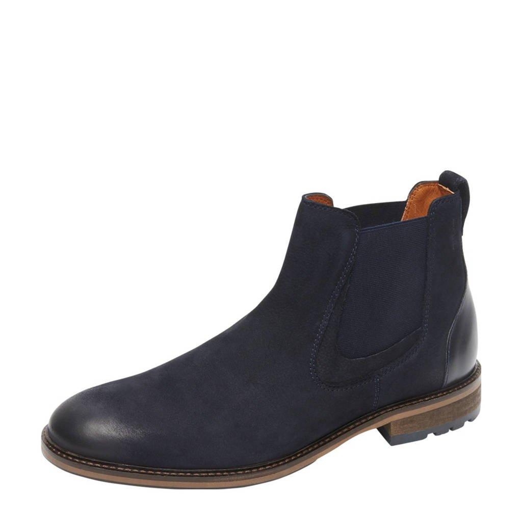 Van Lier Henry  nubuck chelsea boots donkerblauw, Donkerblauw
