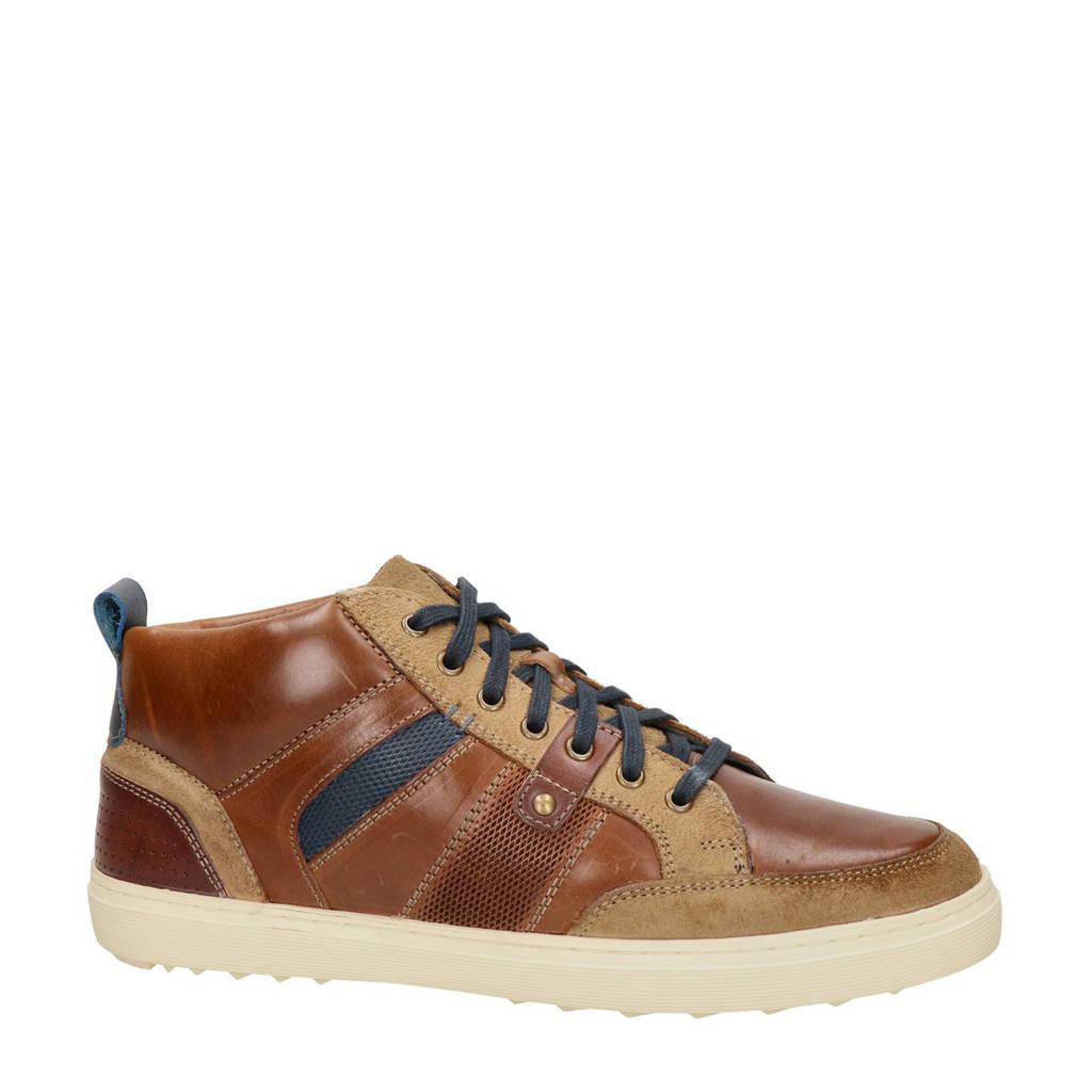 Piure Enfield  hoge leren sneakers bruin, Bruin